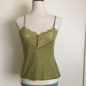 Express Tops Size M Green adjustable stripre